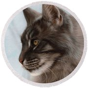 Maine Coon Painting Round Beach Towel
