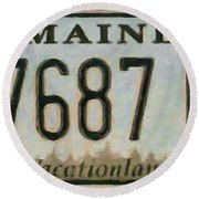 Maine License Plate Round Beach Towel