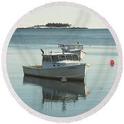 Maine Lobster Boats In Winter Round Beach Towel