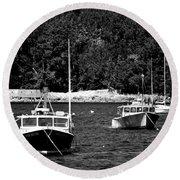 Maine Lobster Boats Round Beach Towel