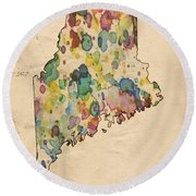 Maine Map Vintage Watercolor Round Beach Towel
