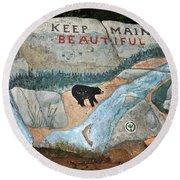 Maine Rock Painting Round Beach Towel