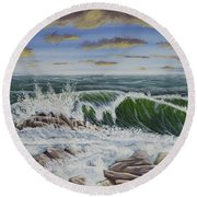 Crashing Waves At Pemaquid Point Maine Round Beach Towel
