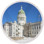 Maine State Capitol Building In Winter Augusta Round Beach Towel