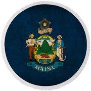 Maine State Flag Art On Worn Canvas Round Beach Towel