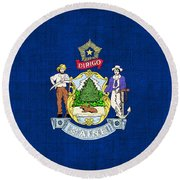 Maine State Flag Round Beach Towel by Pixel Chimp