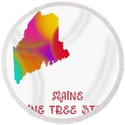 Maine State Map Collection 2 Round Beach Towel