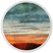 Maine Sunset Round Beach Towel