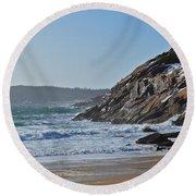 Maine Surfing Scene Round Beach Towel