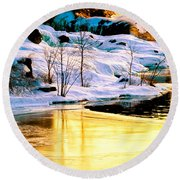 Maine Winter Along The Androscoggin River Round Beach Towel