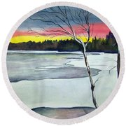 Maine Winter Sunset Round Beach Towel