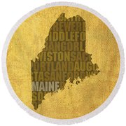 Maine Word Art State Map On Canvas Round Beach Towel