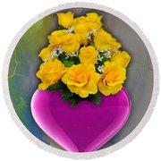 Majenta Heart Vase With Yellow Roses Round Beach Towel