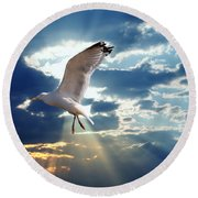 Majestic Bird Against Sunset Sky Round Beach Towel