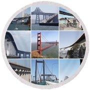 Majestic Bridges Of The San Francisco Bay Area Round Beach Towel