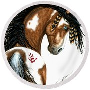 Majestic Horse #106 Round Beach Towel