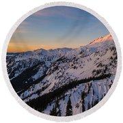 Majestic Mount Baker Sunrise Light Round Beach Towel