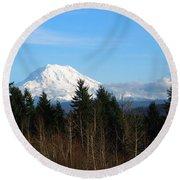 Majestic Mount Rainier Round Beach Towel