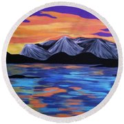 Majestic Mountains Round Beach Towel