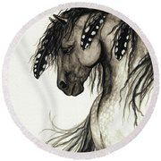 Majestic Mustang Horse Series #51 Round Beach Towel by AmyLyn Bihrle