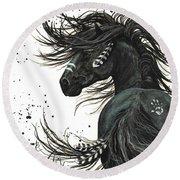Majestic Spirit Horse  Round Beach Towel by AmyLyn Bihrle