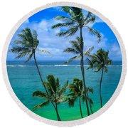 Majestic Palm Trees Round Beach Towel