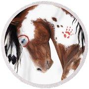 Majestic Pinto Horse 129 Round Beach Towel