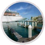 Majesty Of The Seas Docked At Key West Florida Round Beach Towel