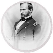 Major General William T Sherman Round Beach Towel