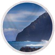 Makapuu Point Lighthouse- Oahu Hawaii Round Beach Towel