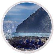 Makapuu Point Lighthouse- Oahu Hawaii V2 Round Beach Towel