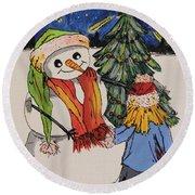 Make A Wish Snowman Round Beach Towel