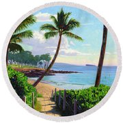 Makena Beach - Maui Round Beach Towel