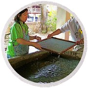 Making Paper Using Mulberry Tree Pulp At Boring Paper Factory In Chiand Mai-thailand Round Beach Towel