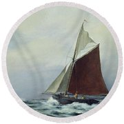 Making Sail After A Blow Round Beach Towel by Vic Trevett