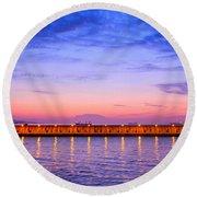 Malaga Pink And Blue Sunrise  Round Beach Towel