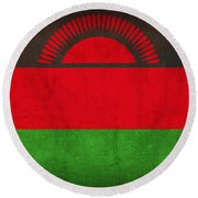 Malawi Flag Vintage Distressed Finish Round Beach Towel