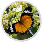 Malay Lacewing Butterfly  Round Beach Towel