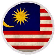 Malaysia Flag Vintage Distressed Finish Round Beach Towel