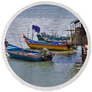 Malaysian Fishing Jetty Round Beach Towel