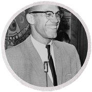 Malcolm X Round Beach Towel by Ed Ford