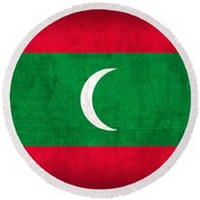 Maldives Flag Vintage Distressed Finish Round Beach Towel