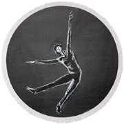 Male Dancer In White Lines On Black Round Beach Towel