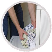 Male Doing Laundry Round Beach Towel