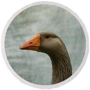 Male Graylag Goose Profile Round Beach Towel by Denyse Duhaime