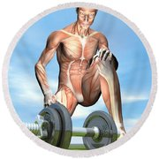 Male Musculature Looking At A Dumbbell Round Beach Towel
