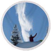 Male Snowboarder Throwing Powder Round Beach Towel