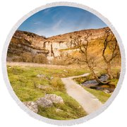 Malham Cove In Malhamdale Round Beach Towel