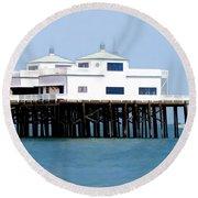 Malibu Pier On A California Blue Sky Day Round Beach Towel