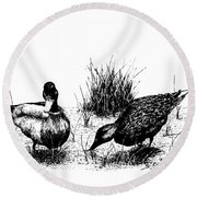 Mallards In The Marsh Round Beach Towel